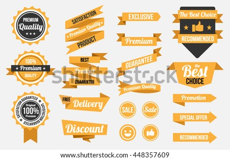 badges , ribbons , banners , flat design style set yellow color ,  vector illustration