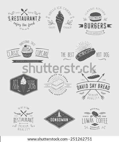 Badges set for food - stock vector