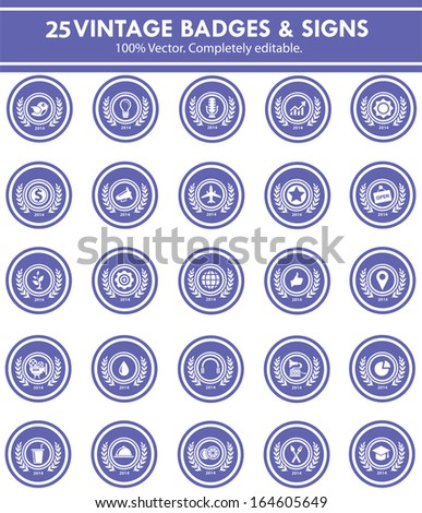 Badges & Sign,Collection of Premium Quality and Guarantee Labels,blue version - stock vector