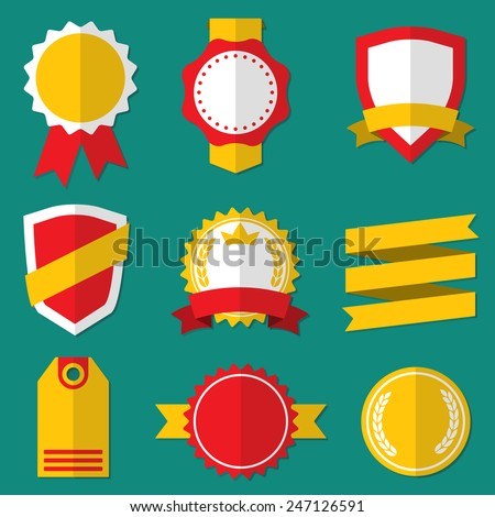 Badges, Stickers, Labels, Shields and Ribbons set. Flat style. Vector vintage illustration. - stock vector