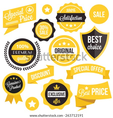 Badges, stickers, ribbons and insignias set. Black and yellow colors. Isolated on white background. - stock vector