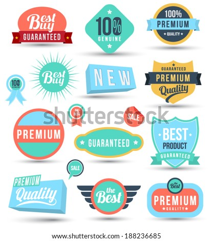 Badges tag label sticker colour set. Can use for business guarantee, promotion, offer, web element. - stock vector