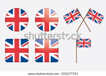 badges with United Kingdom flag vector illustration - stock vector
