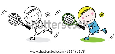 Badminton player coloring page - stock vector