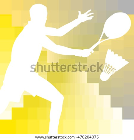 Badminton player silhouette colorful modern design background