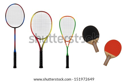 Badminton, tennis, squash and table tennis equipment vector illustration - stock vector