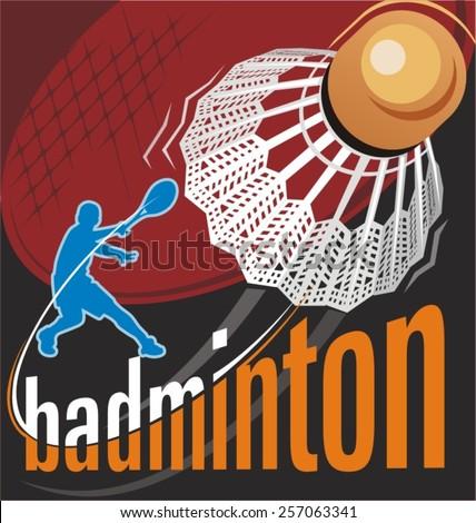 badminton vector - stock vector