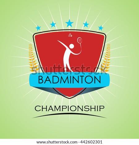Badminton - Winner Golden Laurel Seal with Golden Ribbon - Layered EPS 10 Vector - stock vector
