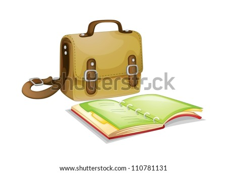 Bag and a book on white background - stock vector