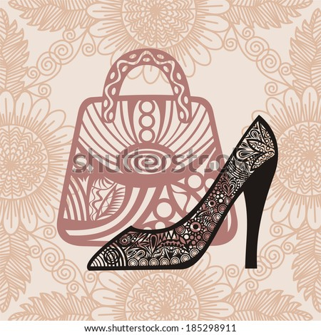 Bag and shoe pattern background vector illustration - stock vector