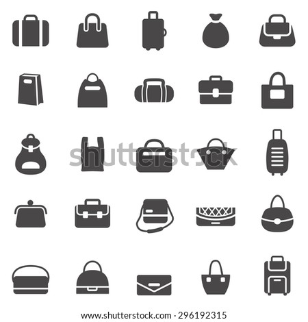Bag black icons set.Vector - stock vector
