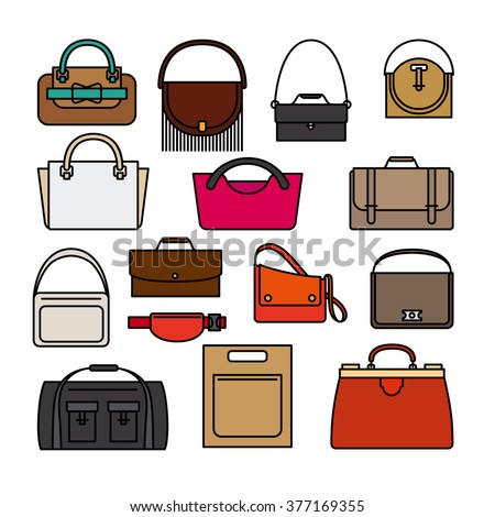 Bag colored icons on white background. Bags, purse and handbags vector icons