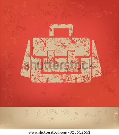 Bag design on red background,poster grunge design - stock vector
