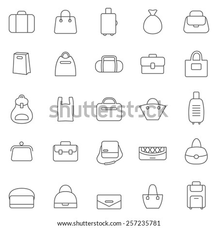 Bag line icons set.Vector - stock vector