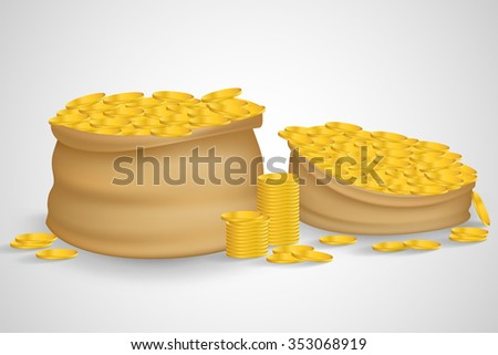 Bag of coins. Bag of money. Sack with full gold coins in it. Sack of coins. Gold coins. Sack full with gold coins. Isolated bag of coins. Sack of coins isolated on white background. Bag of money. - stock vector