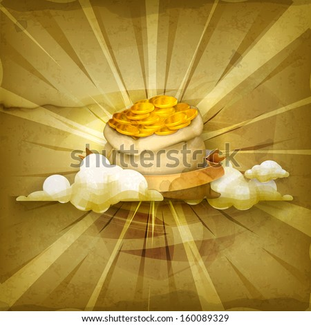 Bag of money, old style vector background - stock vector