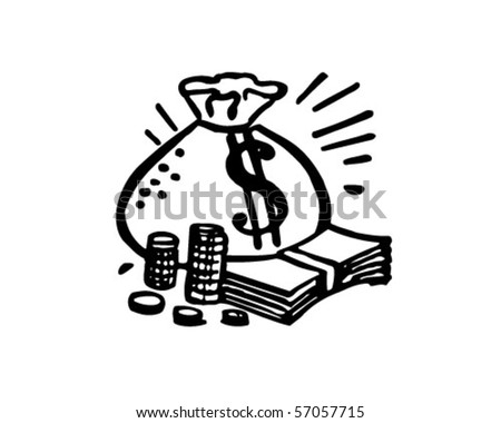 Bag Of Money - Retro Clip Art - stock vector