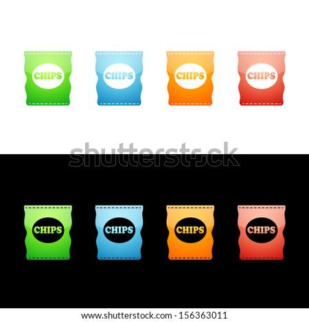 Bag of Potato Chips Icon - stock vector