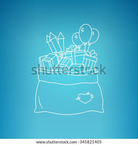 Bag of Santa Claus with Gifts on a Blue Background,  a Bag with Gifts and Firecrackers and Balloons, Drawing in Linear Style , Vector Illustration - stock vector