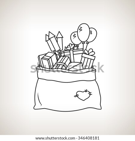 Bag of Santa Claus with Gifts on a Light  Background, a Bag with Gifts and Firecrackers and Balloons, Drawing in Linear Style ,  Black and White Vector Illustration - stock vector