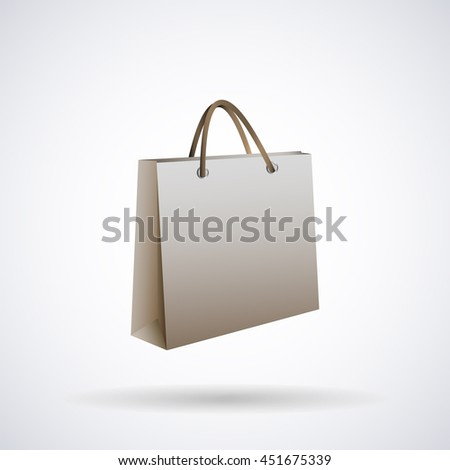 Bag package paper for shopping with handles, for your inscription, isolated on white background stylish vector illustration for web design