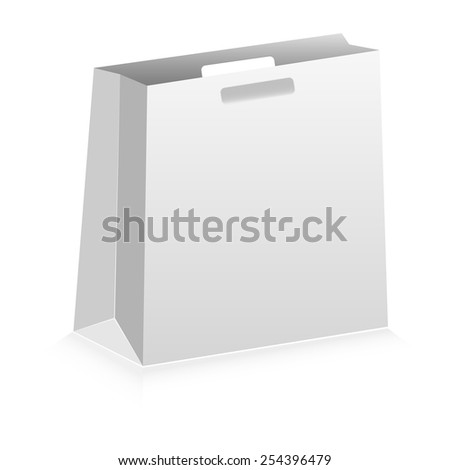 bag paper white background isolated illustration - stock vector
