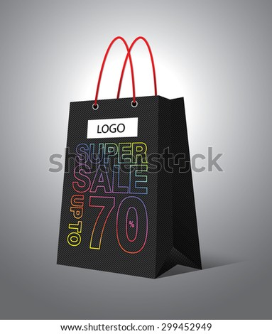 Bag Shopping super sale collection - stock vector