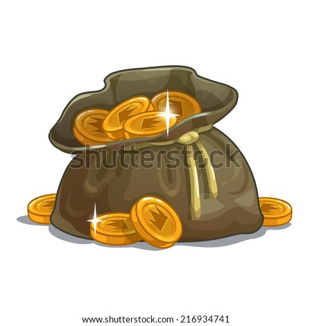 Bag with coins, cartoon illustration on the white background - stock vector