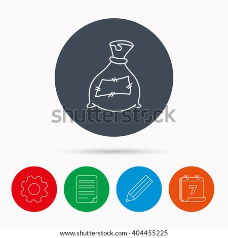 Bag with fertilizer icon. Fertilization sack sign. Farming or agriculture symbol. Calendar, cogwheel, document file and pencil icons. - stock vector