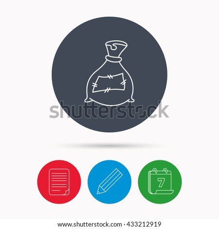 Bag with fertilizer icon. Fertilization sack sign. Farming or agriculture symbol. Calendar, pencil or edit and document file signs. Vector - stock vector