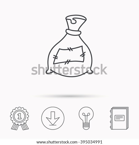 Bag with fertilizer icon. Fertilization sack sign. Farming or agriculture symbol. Download arrow, lamp, learn book and award medal icons. - stock vector