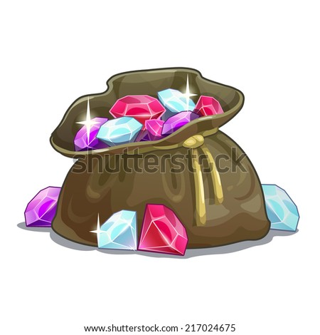 Bag with gems, cartoon illustration on the white background - stock vector