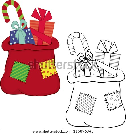 Bag with gifts. Coloring book. Vector illustration - stock vector