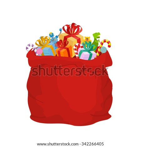 Bag with gifts Santa Claus. Big Red festive holiday bag. Many gifts for kids: Dinosaur and robot bear and sweets. Mint Christmas candy. Illustration for new year. - stock vector