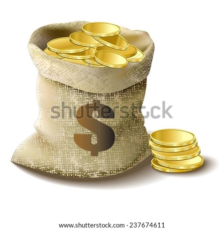 bag with gold dollar - stock vector