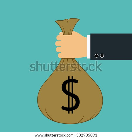 Bag with money in hand of man. Stock Vector. - stock vector