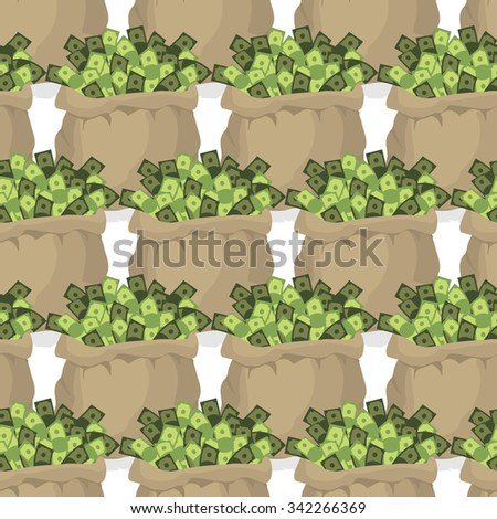 Bag with money seamless pattern. Many dollars in bags. Texture with treasures. - stock vector