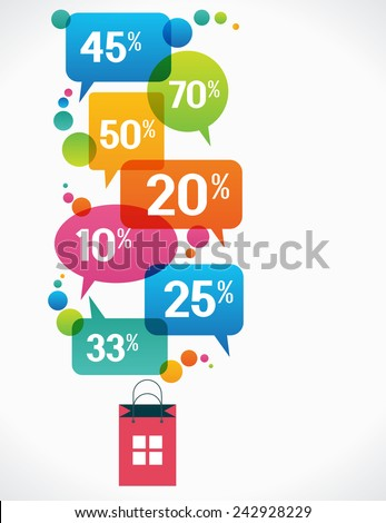 bag with percent discounts. Flat modern design.  concept of sales. The file is saved in the version AI10 EPS. This image contains transparency. - stock vector