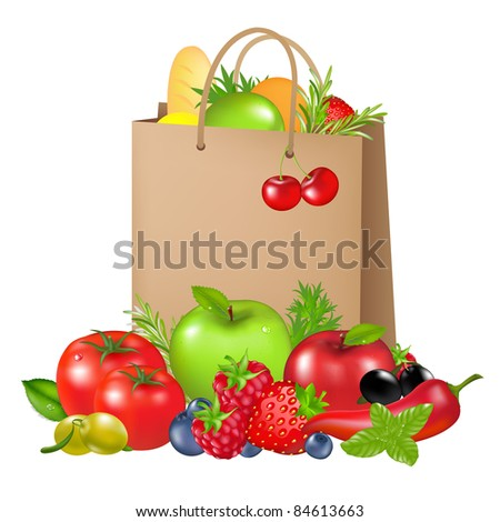 Bag With Products, Isolated On White Background, Vector Illustration - stock vector