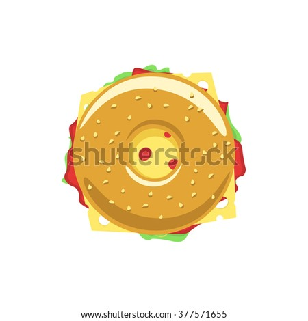 Bagel sandwich vector logo, donut flat icon with meat, hum, salad, cheese, doughnut meal symbol, tasty food, tasty burger, hamburger, fast food shop emblem bakery logo modern design isolated on white - stock vector