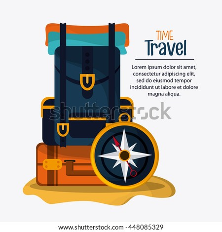 Baggage and compass icon. Time to travel design. Vector graphic