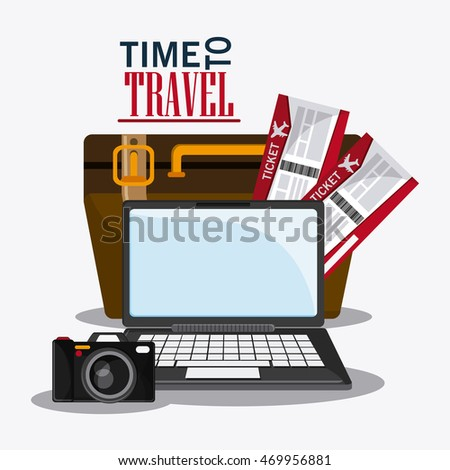 baggage camera laptop time travel vacation trip icon. Colorful design. Vector illustration