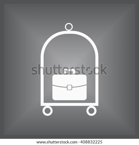 Baggage cart icon. Hotel cart icon. Rounded button. Vector Illustration - stock vector