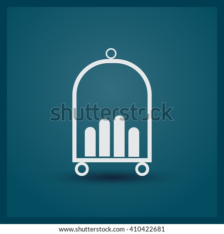 Baggage cart icon. Hotel cart icon. Rounded button. Vector Illustration. - stock vector