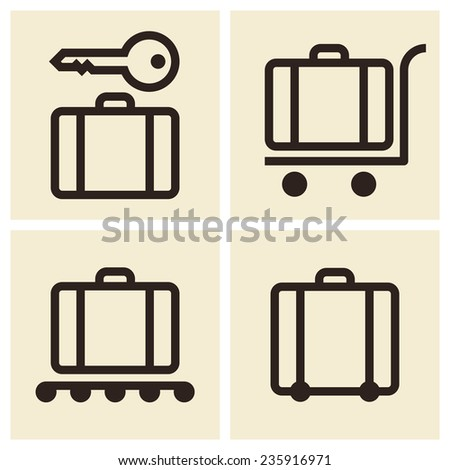 Baggage cart, Suitcase, Baggage claim, Baggage storage - travel icons set  - stock vector