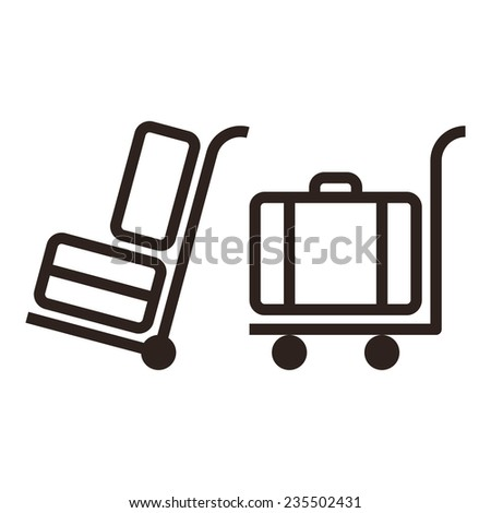 Baggage cart - travel icons  isolated on white background - stock vector