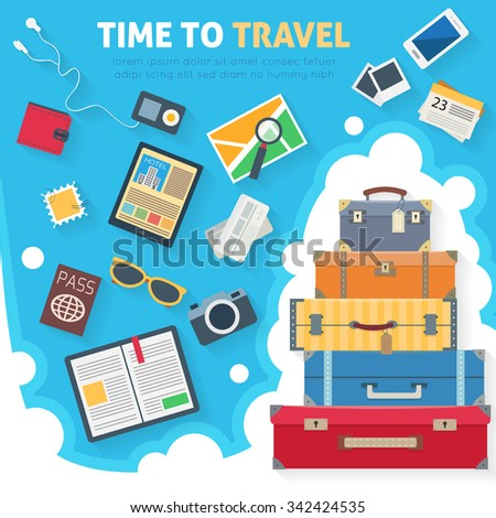Baggage, luggage, suitcases  with travel icons and objects. Flat style vector illustration. - stock vector