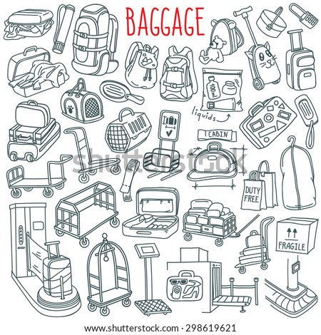 Baggage themed doodle set. Different types of luggage, bags, cases, suitcases, backpacks, transportation carts, pets carriers. Vector freehand illustration isolated over white background - stock vector