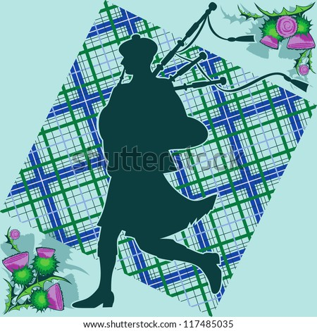 bagpiper and thistle - stock vector