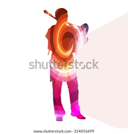 Bagpiper Scottish man silhouette illustration vector background colorful concept made of transparent curved shapes - stock vector